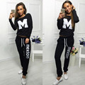 "2017 Autumn and Winter Casual Sweat Suits Women Fashion Cotton Suit Two Piece Set Top and Pants ""M""Letter Tracksuits"