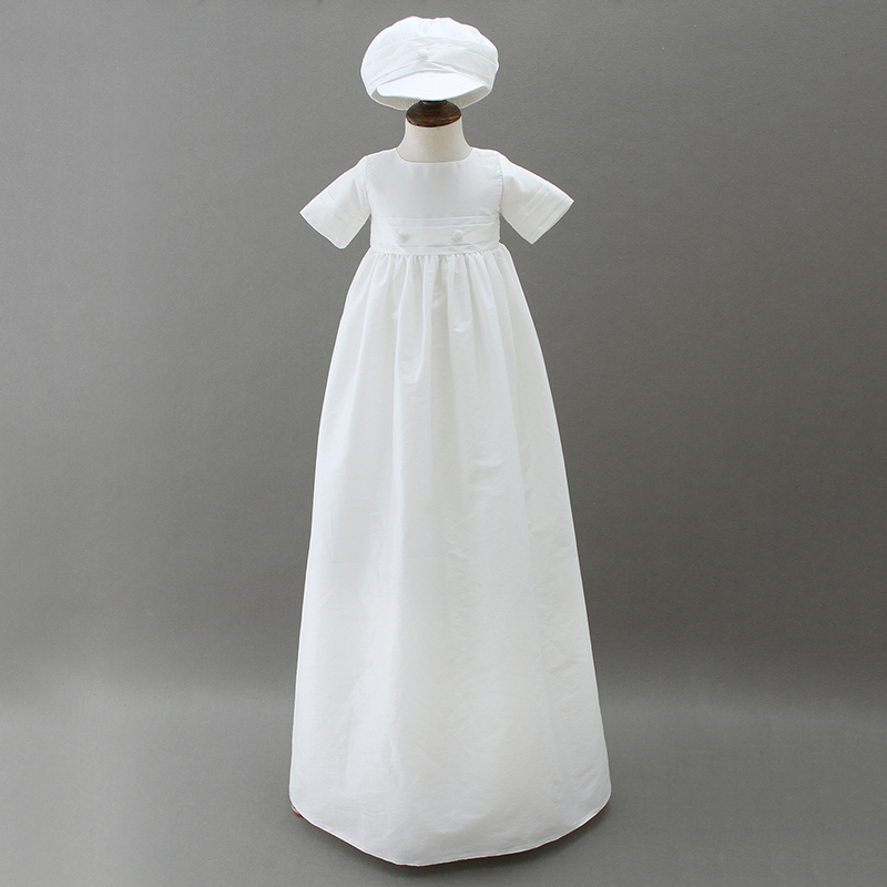 Baby Boy Christening Gown Satin Baptism Robe with Hat Bonnet White Long Dress Frock Newborn Baby Christening Clothing A015 недорго, оригинальная цена