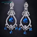 MECHOSEN Brand Super Dangle Earrings Bridal Wedding Imitated Sapphire Rhinestone Brincos Platinum Plated Pendiente Mujer Joyas