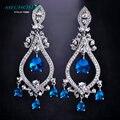 Mechosen marca super dangle brincos de casamento nupcial imitado sapphire strass brincos platinadas pendiente joyas mujer