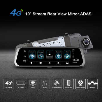 Junsun A930 10\'\' ADAS Stream Media Rear View Mirror Avtoregistrator 4G Android Smart Dash Camera FHD 1080P Auto Recorder GPS