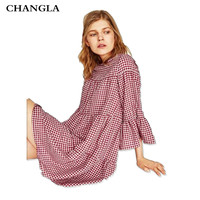 CHANGLA Women Oversized Pleated Plaid Dress Summer 2017 O Neck Flare Sleeve Loose Casual Sweet Dresses