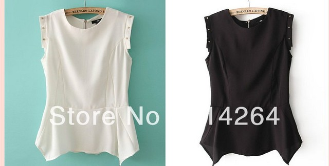 """Trend Elegant Women Rivet Round Neck Sleeveless Chiffon Shirt Top Black/White     free shipping"