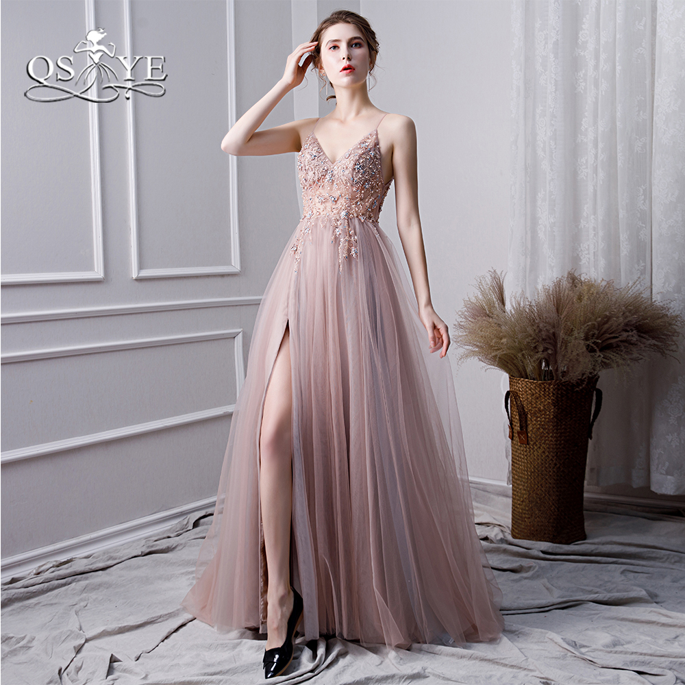 QSYYE 2019 Pink Long   Prom     Dresses   Robe de Soiree High Slit Luxury Beading Tulle Floor Length Formal Evening   Dress   Party Gowns