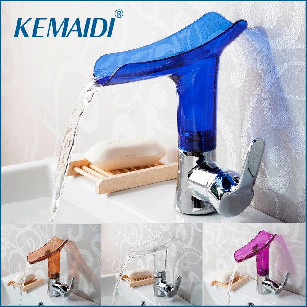 KEMAIDI бассейне Смесители нового Дизайн водопад Ванная комната кран Одной ручкой бассейна смеситель для ванны сплошной акрил Chrome кран