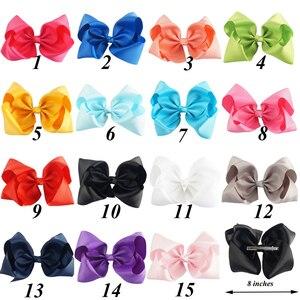 "Image 2 - 30 Stks/partij 8 ""Handgemaakte Massief Grote Hair Bow Voor Meisjes Kids Grosgrain Lint Boog Met Clips Boutique Big Hair accessoires"