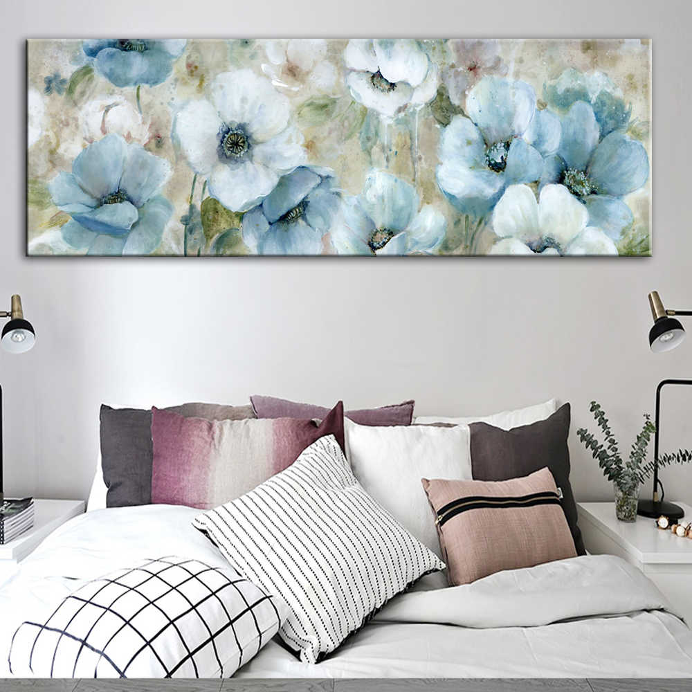 Flowers Oil Paintings Print On Canvas Abstract Wall Posters And Prints Watercolor Flowers Wall Pictures For Living Room Cuadros