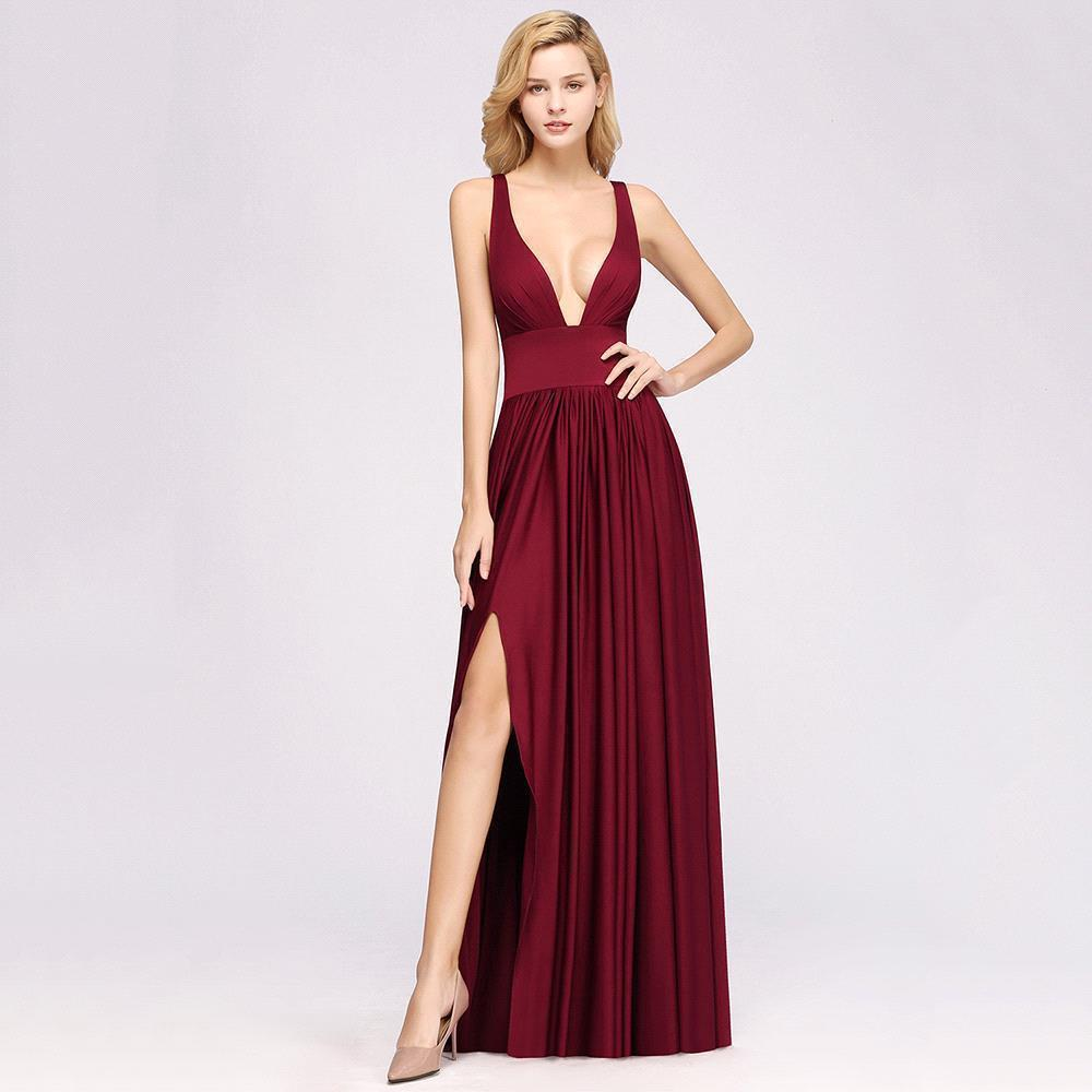 Burgundy Long Bridesmaid Dresses 2019 A Line Deep V Neck Sleeveless Side Slit Wedding Party Guest Gown Free Custom Made