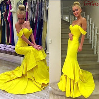Noble 2017 Prom Dresses Sexy Mermaid Short Sleeve Sweetheart Long Yellow Prom Dress Best Stain Tiered