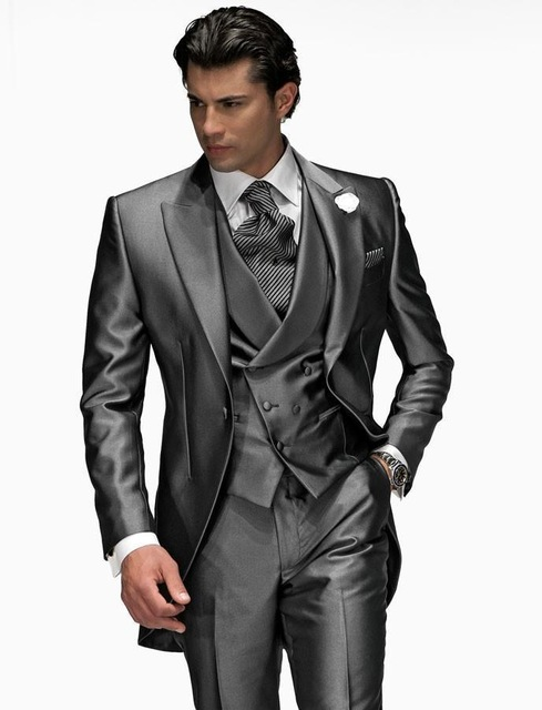 Morning Style One Button Shiny Gray Groom Tuxedos Peak Lapel Groomsmen Best Man Mens Wedding Suit (Jacket+Pants+Vest+Tie) W:141