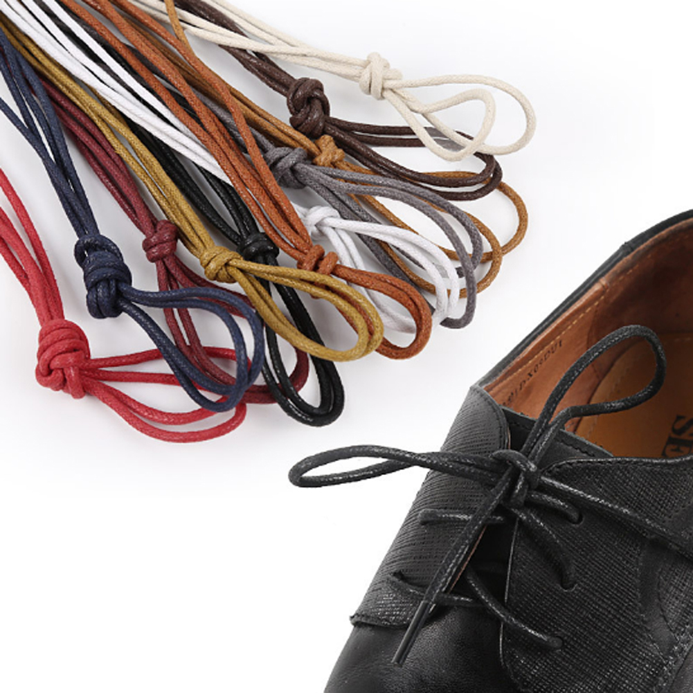 Fashion 1Pair Waxed Colourful Shoelaces For Leather Shoes Laces Round Strings Martin Boots  Shoes Cord Ropes 5 Colors