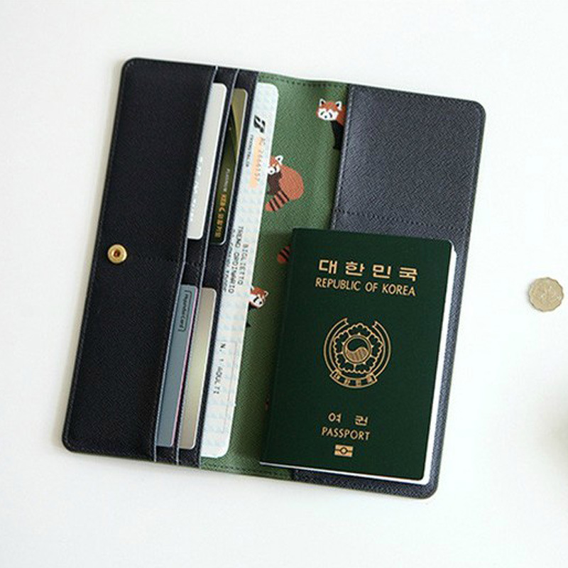 Cute Animal Long Wallet Passport Cover Cartoon Travel Passport Package Ticket Travel Accessories
