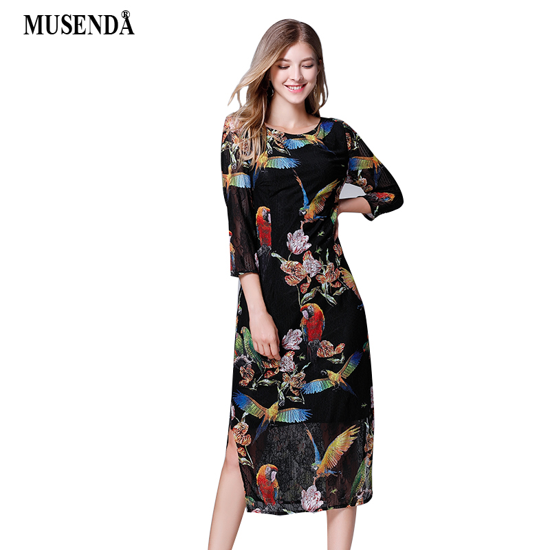 MUSENDA Plus Size Women Black Print Lace Tunic Split Hem Midi Dress 2018 Autumn Lady Office Party Dresses Vestido Robe Clothing