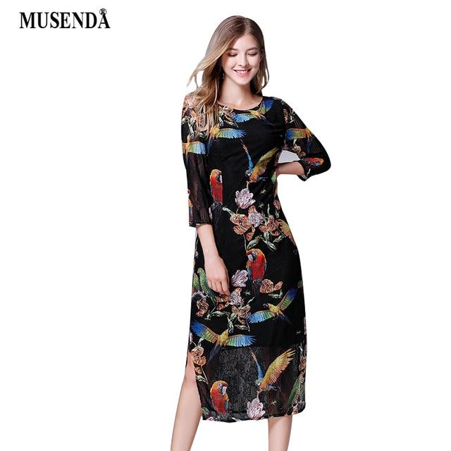 MUSENDA Plus Size Women Black Print Lace Tunic Split Hem Midi Dress 2018  Autumn Lady Office Party Dresses Vestido Robe Clothing 7282090863f2