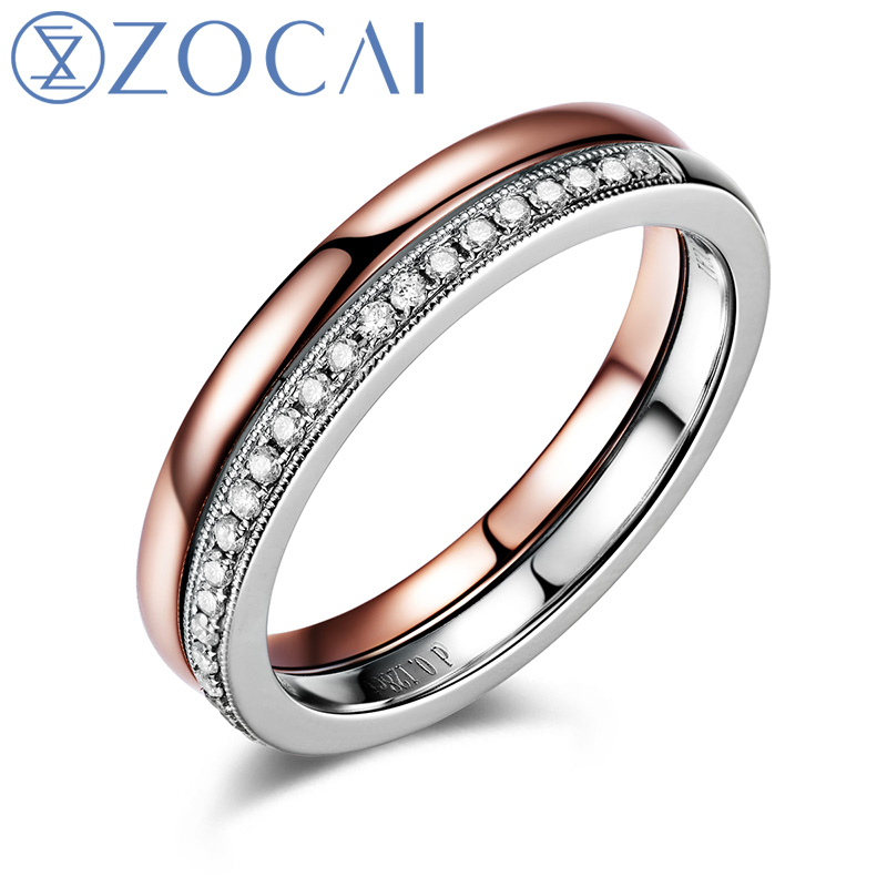ZOCAI Style Ring natural diamond 0.128 ct in total dual color 18K rose gold & 18K white gold diamond wedding ring Q00939A цены