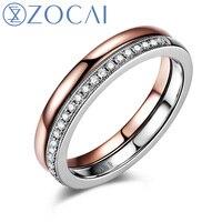ZOCAI Style Anneau naturel diamant 0.128 ct total de double couleur 18 K rose or & 18 K or blanc diamant bague de mariage Q00939A