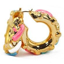 Luxury Gold Multicolor Big Earrings Hoop Fashion Earrings for Brides Glaze Copper Enamel Earrings E18631
