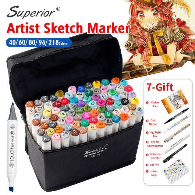 Superior Artist Double Headed Marker Set 218 Colors Great Value Smooth Design Marker Animation Sketch Markers For Drawing kitcyo588750pac103637 value kit crayola pip squeaks telescoping marker tower cyo588750 and pacon riverside construction paper pac103637