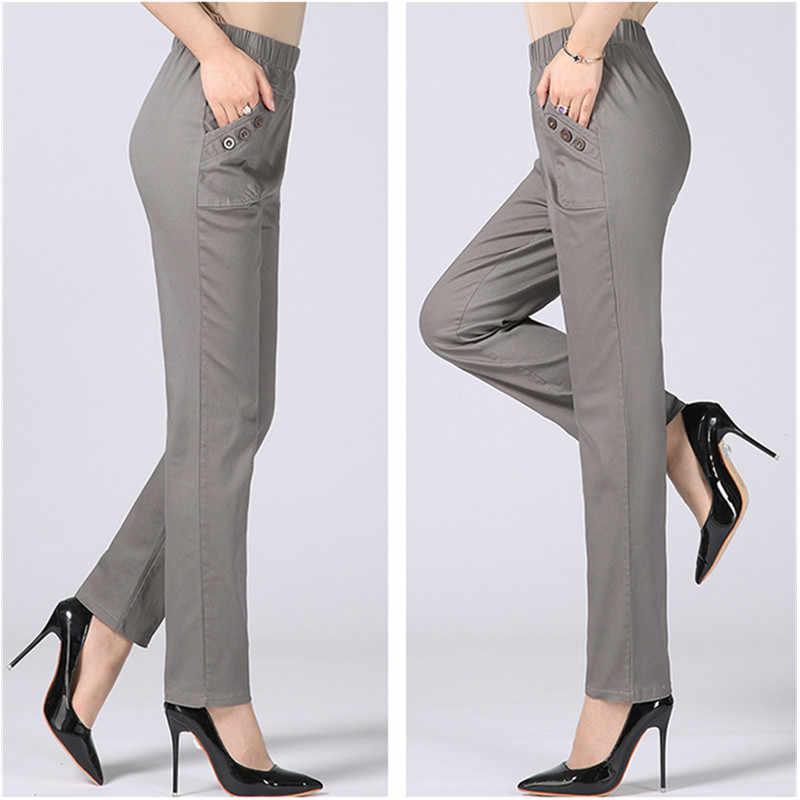 2020 yaz kadın keten harem pantolon orta yaşlı bayan elastik bel gevşek rahat pantolon artı boyutu 4XL cep ince kadın pantolon