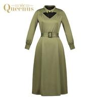 Queenus 2017 Herfst Vrouwen Een Lijn Jurk Peter Pan Kraag Mid Kalf Volledige Mouwen Belted Groene Elegante Slanke Vrouwen Vintage jurk