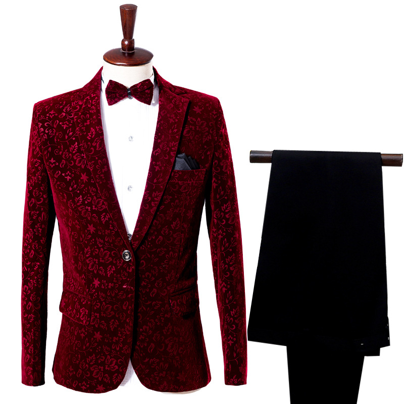 Wine Red Casual Printed Velveteen Groom Tuxedo Suit Groomsmen Men Wedding Prom Suits Theater England Style Suits
