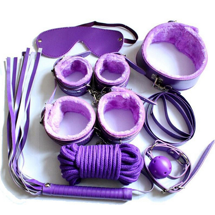 Fetish Slave party 7 Kits- Rope Ball Gag Cuffs Whip Collar mask night toy