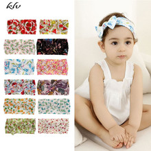 Newborn Kids Floral Print Nylon Headbands Knotted Hair Bows Headband Baby Children Girls Headwear