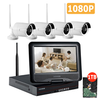 Plug Play 4CH Wireless NVR Kit P2P 1080P HD Outdoor IP Video Security CCTV Camera Night