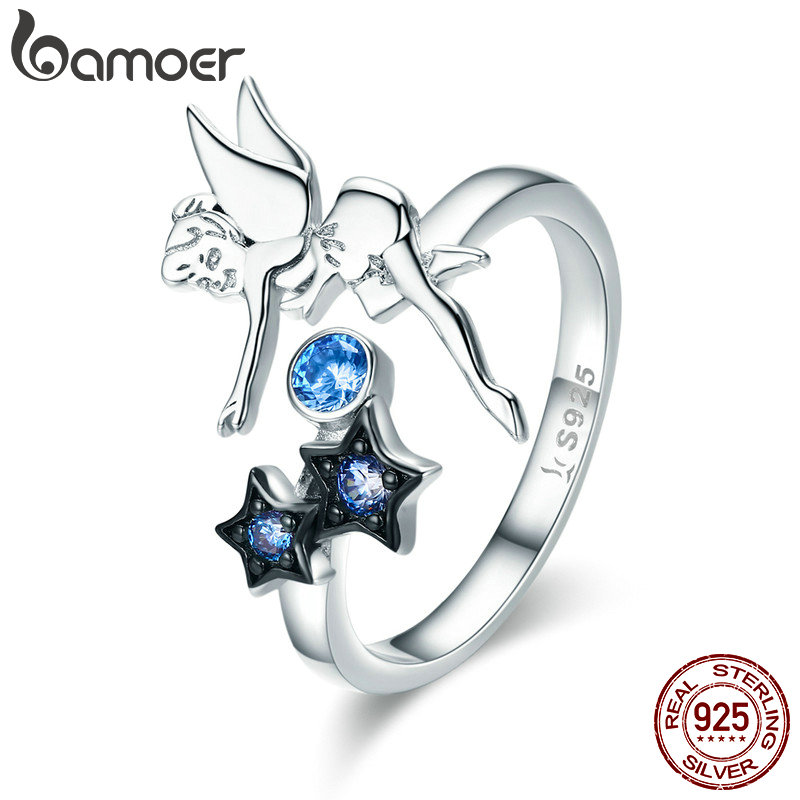 цена BAMOER Hot Sale Authentic 925 Sterling Silver Fairy with Star Luminous CZ Finger Ring for Women Sterling Silver Jewelry SCR349