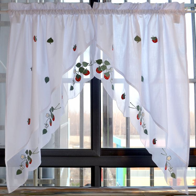 Aliexpress.com : Buy Strawberry Embroidered Decorative Curtains Short  Kitchen Curtain White Swag Triangular Valance 75x95cmx2pc From Reliable Short  Kitchen ...