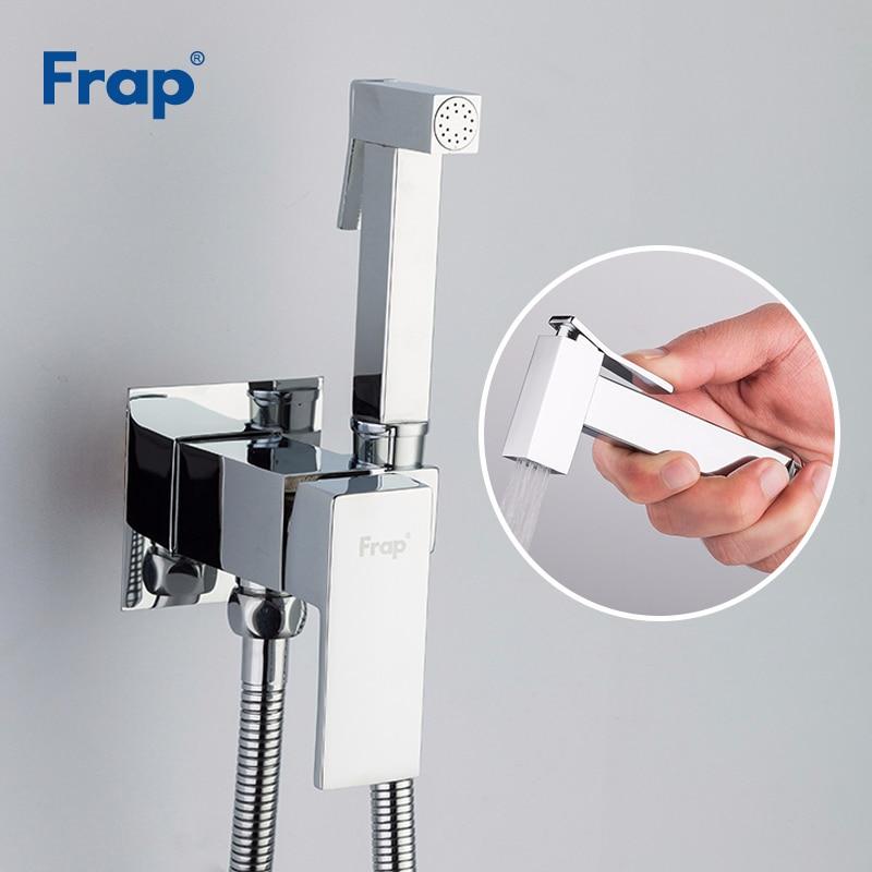 FRAP хромированный латунный биде-распылитель для ванной комнаты, мусульманский душ, биде-кран, гигиенический душ, настенное крепление, Смесит...