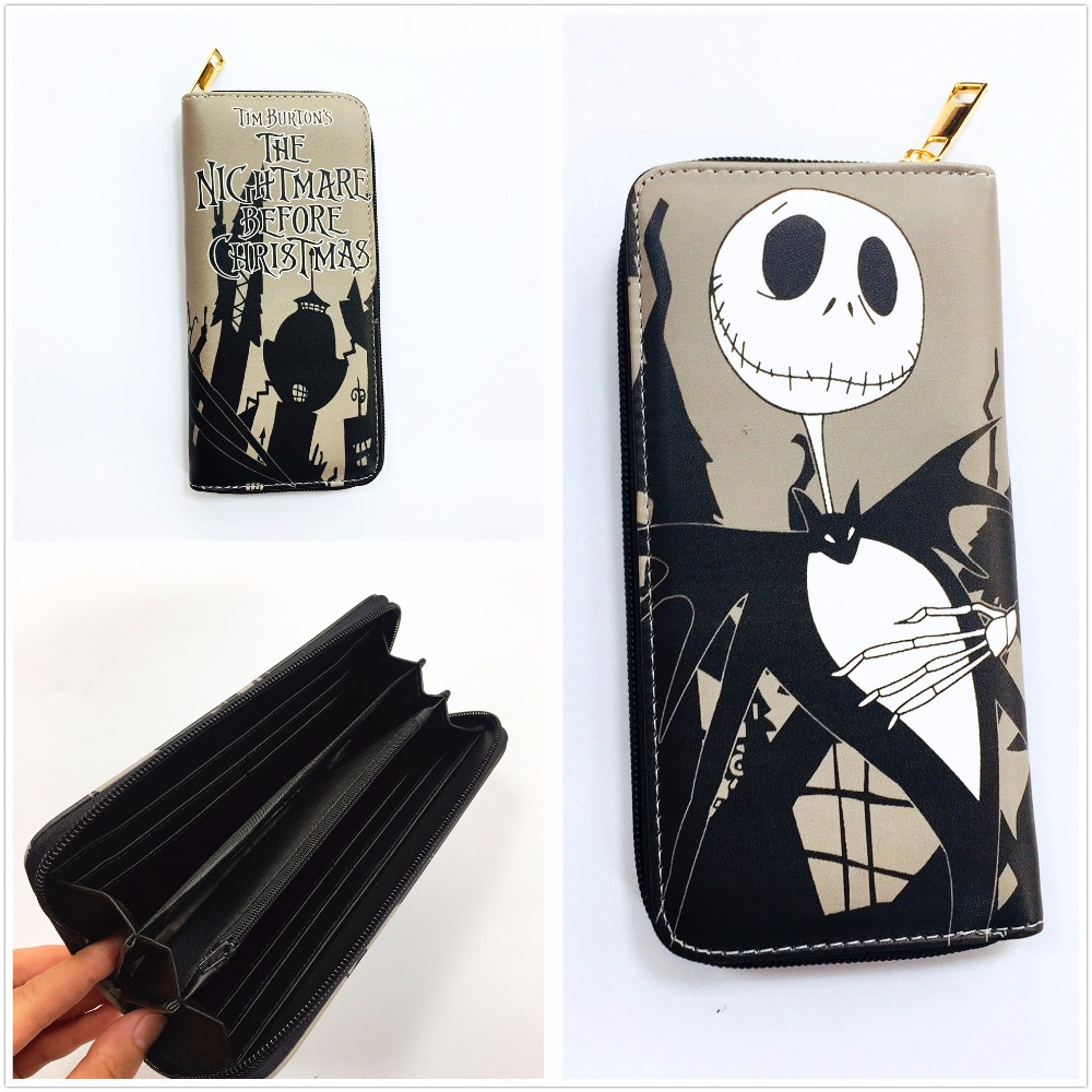 The Nightmare Before Christmas Jack Anime Long Wallets Mens Leather Pu Wallet Cartoon Purse L076 2016 new arriving pu leather short wallet the price is right and grand theft auto new fashion anime cartoon purse cool billfold