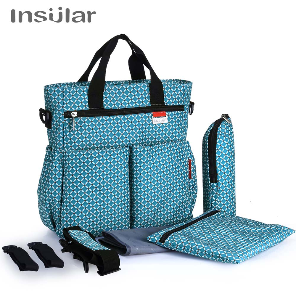 insular Brand large capacity dot style baby nappy care handbag nylon waterproof maternity mummy diaper bag baby strollers bags