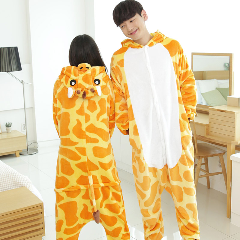 2019 Adult Men Women Flannel Lovers Pajamas One-Piece Cosplay Jumpsuit Cartoon Animal Costume Sleepwears Toilet Rompers Overalls