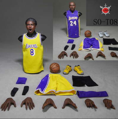 1/6 Lakers Sport Suit & Kobe Head Sculpt & Basketball Shoes Set for NBA Basketball Star Action Figures Accessories баскетбольную форму lakers