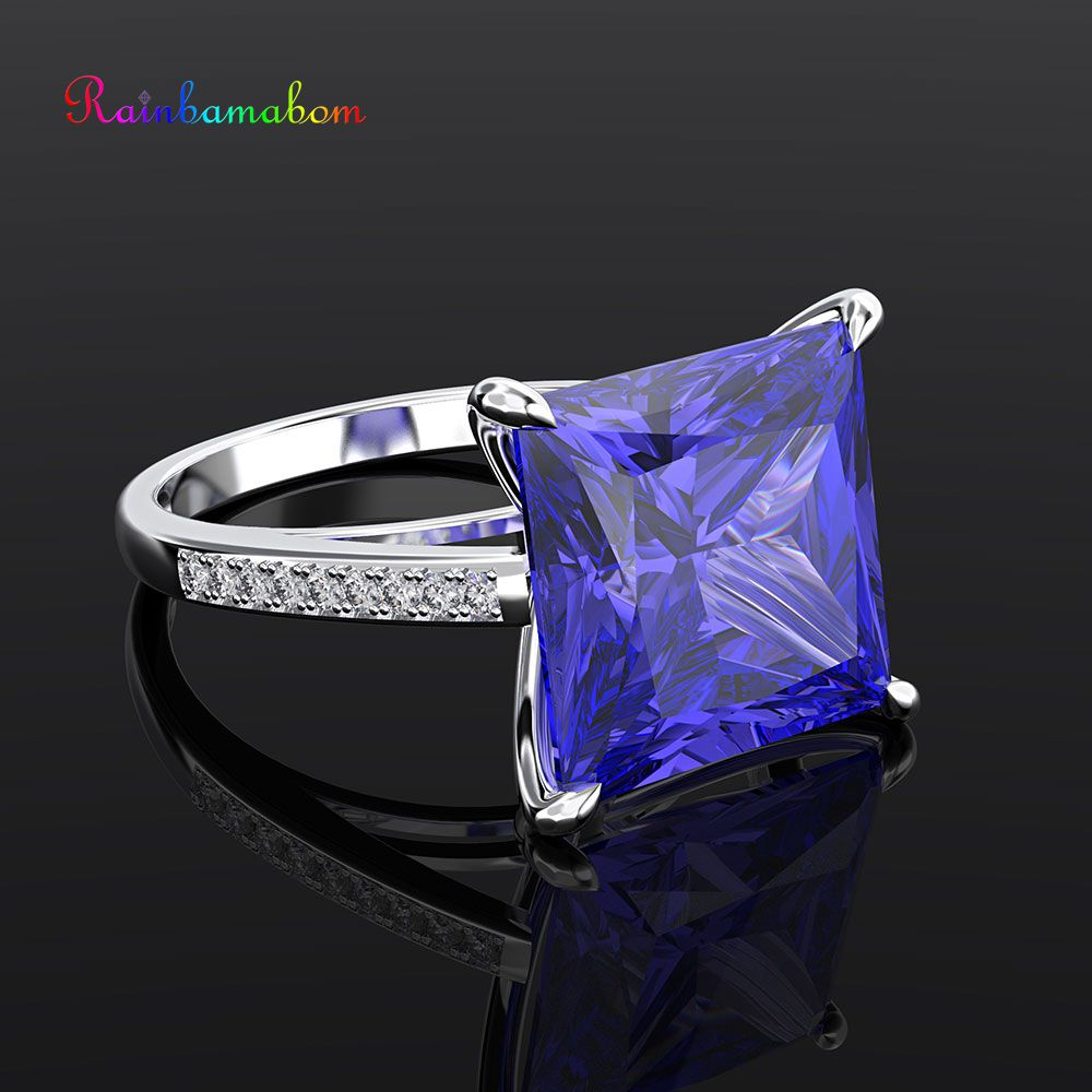 Rainbamabom Real 925 Solid Sterling Silver Sapphire Gemstone Birthstone Wedding Couple Unisex Rings Fine Jewelry Gifts WholesaleRainbamabom Real 925 Solid Sterling Silver Sapphire Gemstone Birthstone Wedding Couple Unisex Rings Fine Jewelry Gifts Wholesale