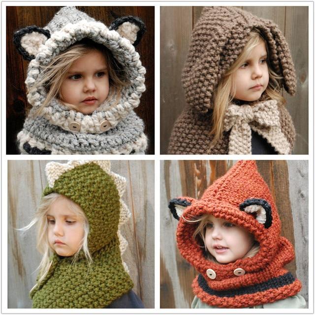 Knitted Baby Hats Winter Baby Wool Cotton Crochet Hat Scarf Set Girls Cute  Rabbit Fox Cotton Cape Baby Head Wear D0240 7bd1d53b5597