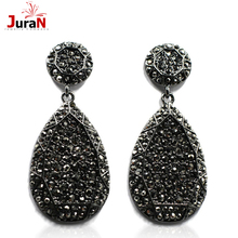 2016 New fashion women statement new design big black crystal stud Earrings for women fashion earring Factory Price wholesale