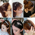 Аксессуары для волос Корейских волос головные уборы жемчужина алмазов голову обруч для волос группа девушка свадьба головные уборы винтаж лук T595