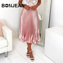 2 Color Pleated Skirt Long Jupe Femme Summer 2019 Jupe Longue Femme High Waist Silver Pink Skirt Women Saia Longa Z012 2015 2 clubwear saia