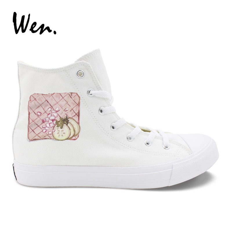 Wen Original Design Western Food Recipes High Top White Canvas Sneakers Man Woman Rope Soled Vulcanized Shoes Adult Footwear image