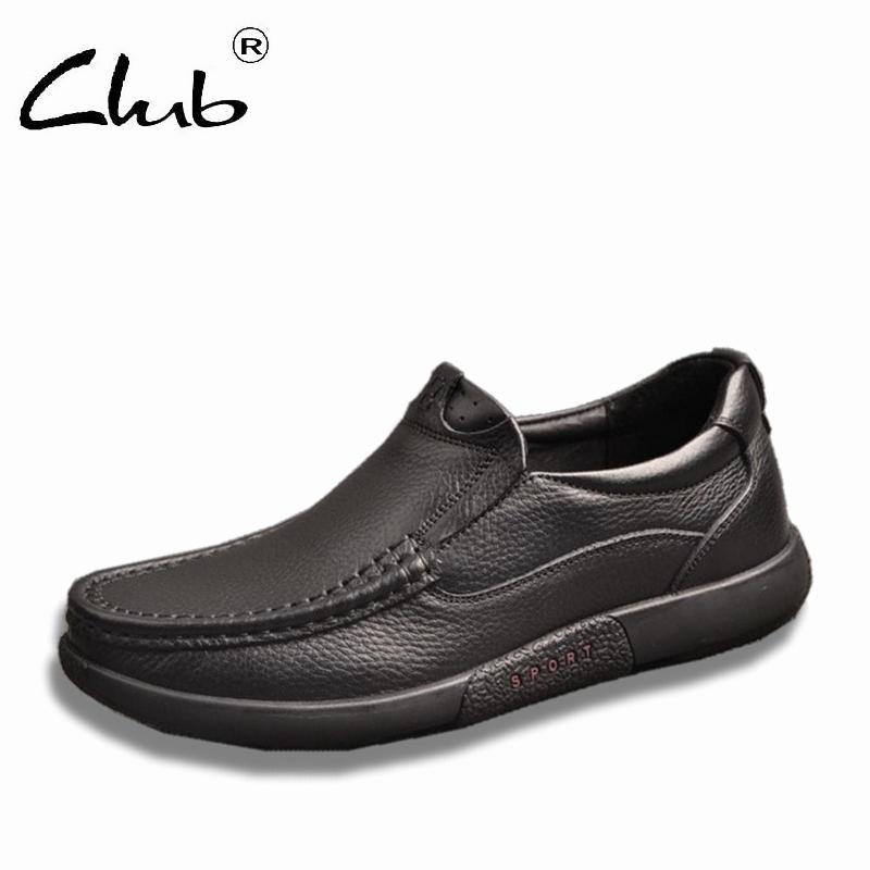 Клуб черный Натуральная кожа Повседневная обувь мужчины мокасины скольжения на кожаные ботинки мужчины плоские туфли Мокасин Мужской Бесплатная доставка