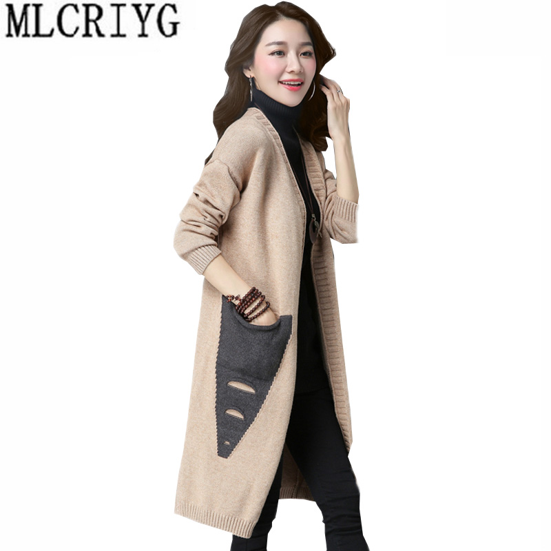 Simple Casual knitting Long Cardigan Female Loose Vintage knitted jumper 2018 Autumn Sweater Women Cardigan Plus Size LX220