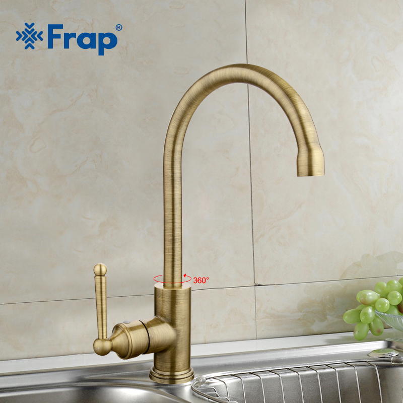 FRAP New Arrival Single Handle Kitchen Faucet Antique Bronze Crane Hot and Cold Water Mixer 360