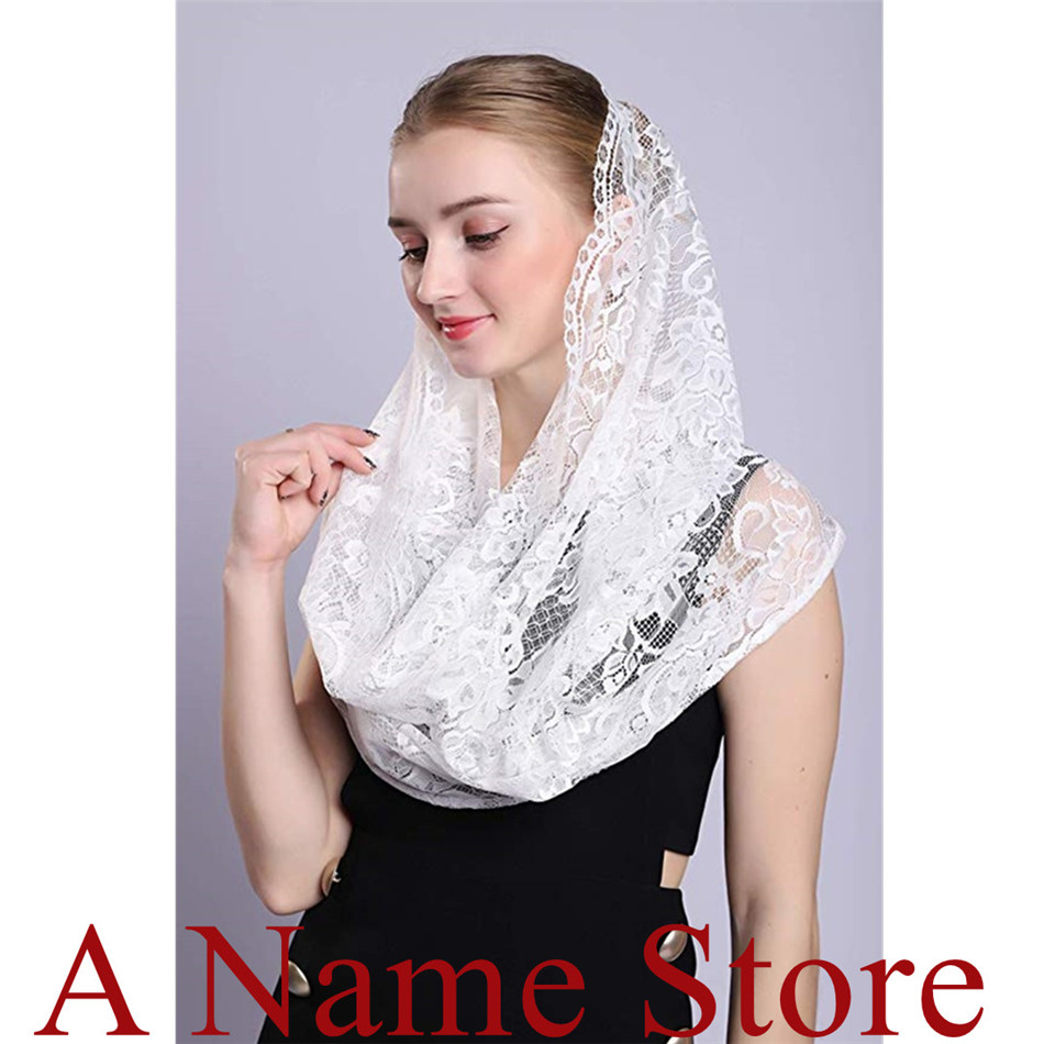 2019 New  ISHSY Rond Women Lace Veils Mantilla For Church Head Covering Wrap Catholic Latin Mass Mantilla Negras Voile Mantille