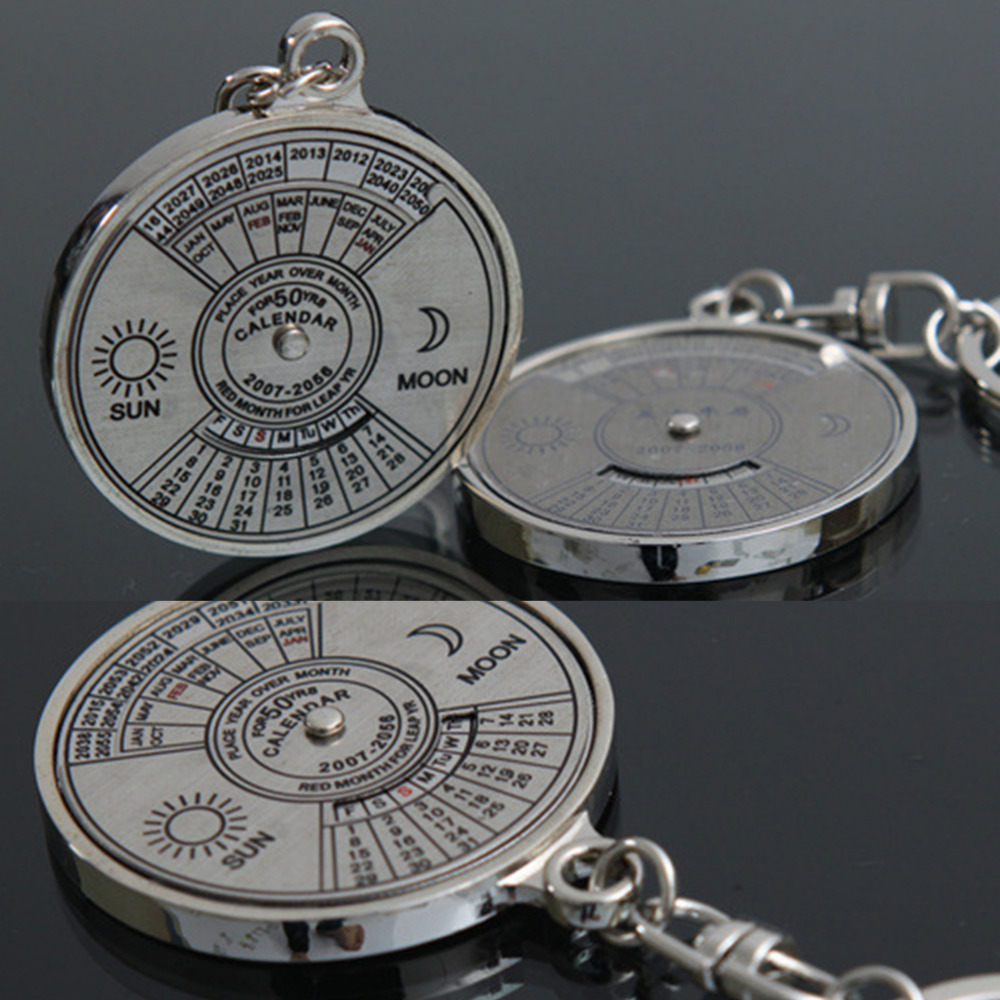 New Fashion Personalized  50 Years Perpetual Calendar Keyring Keychain Silver Alloy Key Chain Ring Keyfob