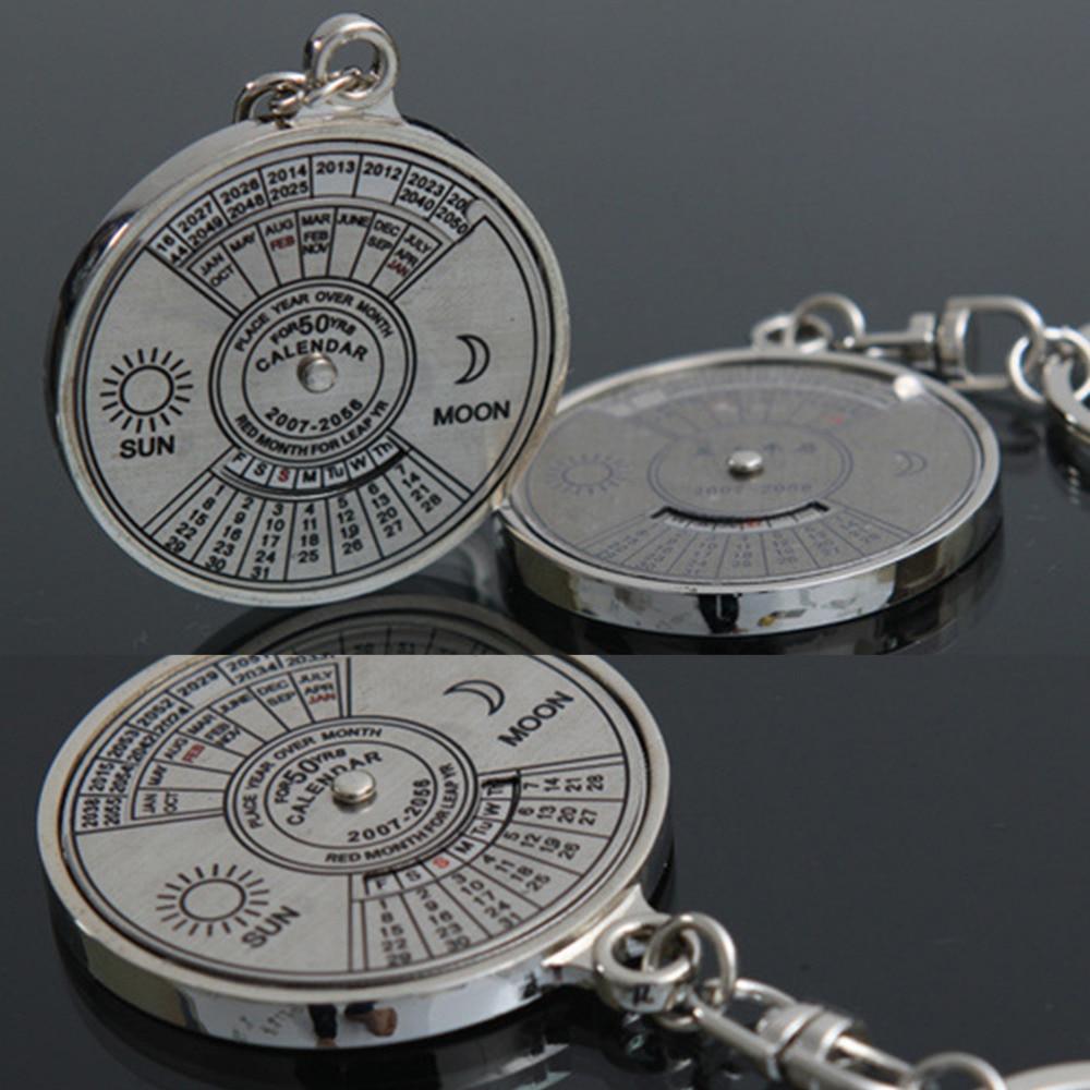 New Fashion Personalized  50 Years Perpetual Calendar Keyring Keychain Silver Alloy Key Chain Ring Keyfob