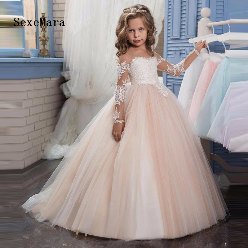 Ball Gown Custom Make Girls Dress for Wedding Long Sleeve White Lace Pageant Dress Birthday Dress Girls First Communion Gown