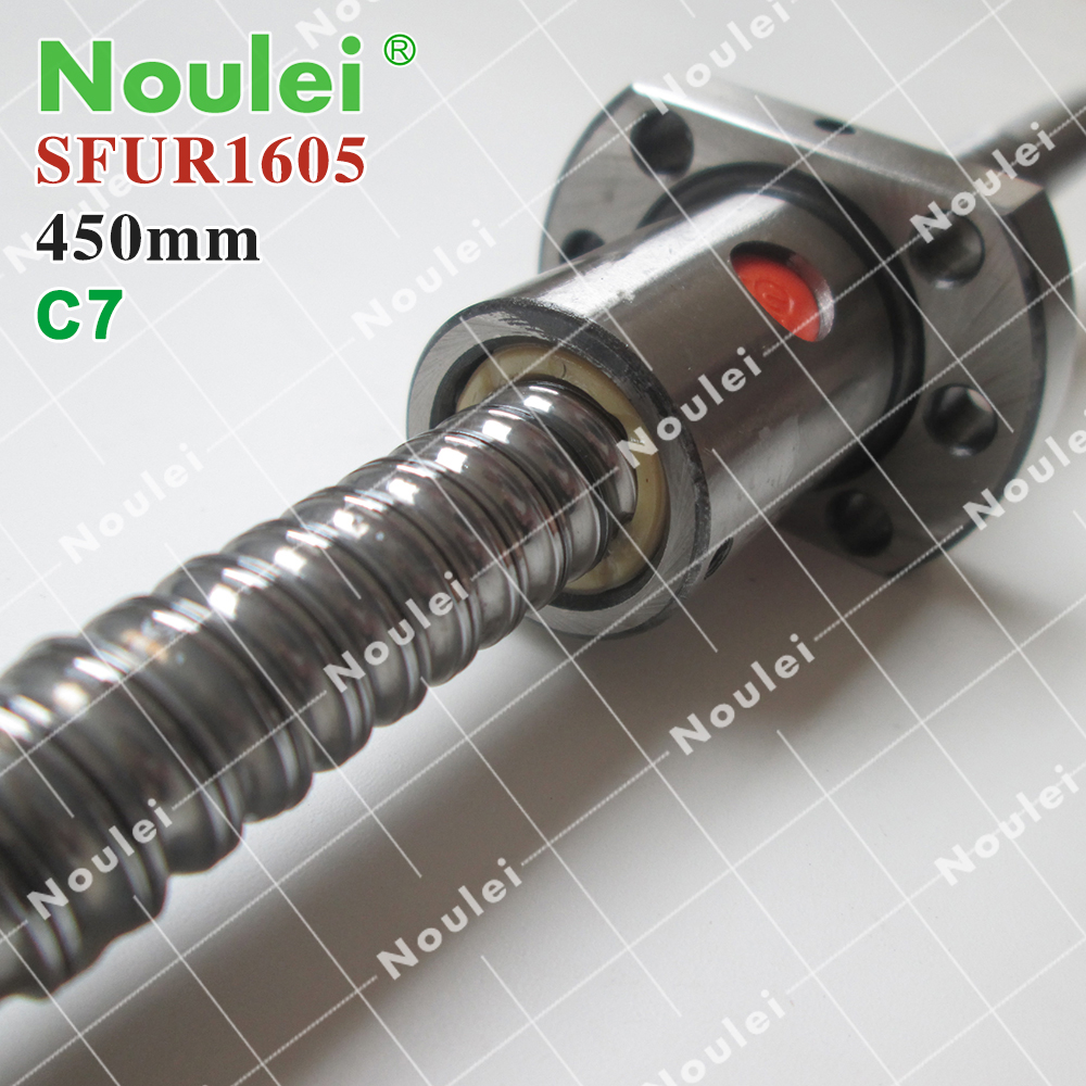 Noulei C7 Rolled ball screw custom,5mm lead SFU1605 ball screw 450mm with 1605 ball nutNoulei C7 Rolled ball screw custom,5mm lead SFU1605 ball screw 450mm with 1605 ball nut