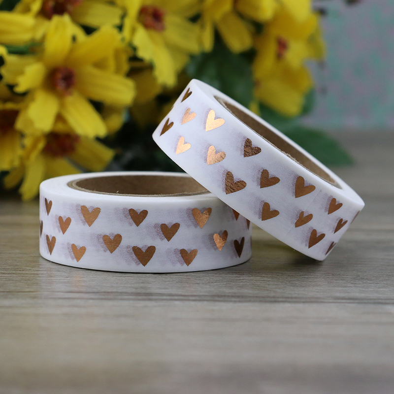 1pc Heart Foil Washi Tape Japanese Paper 1.5cm*10m Kawaii Scrapbooking Tools Masking Tape Xmas Photo Album Diy Decorative Tapes gold foil washi tape adhesive scrapbooking christmas party elk decoration tape kawaii photo album maskingtape